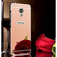 PREVOA ® 丨 Metal Bumper Frame + Back Plastic Case Protictive Funda para Meizu MX6 Smartphone 4G Pantalla: 5,5 pulgadas - Rosa