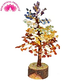 Reiki Crystal Products 7 Chakra 300 Beads Crystal/Stone Chips Tree (8 Inch* 7.5 Inch)