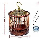 Pet Online El reverdecimiento de la caoba cúpula de cobre en forma de jaula manualmente con parte superior plana mini coop, redondo rojo