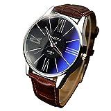 Watches for Men, Winkey Luxury Fashion Leather Mens Glass Quartz Analog Wristwatch Watches, Hot Sale! (Brown)