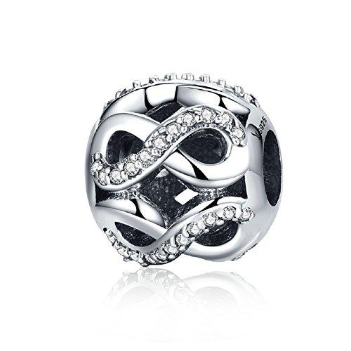 Durchbrochener Infinity Love Kreis klar Zirkonia 925Sterling Silber Charms Bead Christmas Gifts passend für europäische Armband Schmuck (Schmuck Infinity Charms)