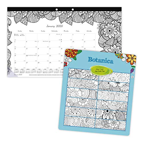 Blueline 2020 DoodlePlan Monthly Coloring Desk Pad Calendar, January - December, Botanica designs, 17.75 x 10.875 inches (C2917001-20) (Clear Desk Pads)