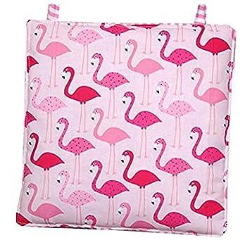 Kinderstuhlkissen 2 Stück, ca. 25 x 25 cm und 1 Bankkissen ca. 25 x 60 cm, rosa mit Flamingos, C-Fashion-Design