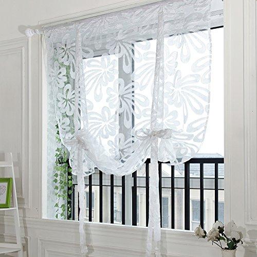 Handfly, tenda alla moda per porta o finestra, a drappeggio, velata, mantovana 80 x 100 cm con bastone e 4 ganci, 100% poliestere, white, 100*160cm/40