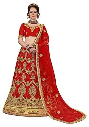 Nivah Fashion Women's Embroidered Net Silk Semi-Stitched Lehanga Choli LG15-Red