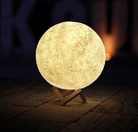 Impression 3D Creative Moon Night Light Cadeau d'anniversaire Touches de contrôle Moon Shadow Charge Home Furnishings Réglage en trois couleurs