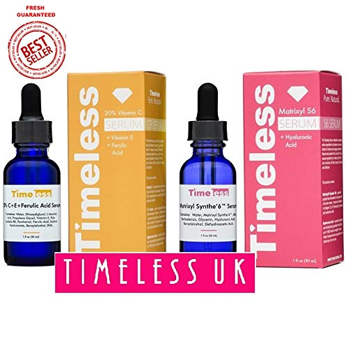 Timeless Skin Care 20% Vitamin C+E Ferulic Acid & Matrixyl Synthe'6 Set - 1 of Each 30ml / 1oz size - From Timeless UK© the Primary Authorised distributor of Timeless Skin Care Range in UK & Europe! Fresh Stock Guaranteed!