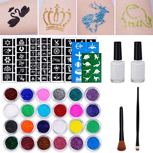 Glitzertattoo Set Kinder Temporäre Tattoos mit 151 Schablonen 24 Glitzerpulver 2 Hautkleber 2 Pinsel für Mädchen Jungs Kinder Erwachsene Perfektes Party Set/Geschenk für Geburtstage, Sylvester
