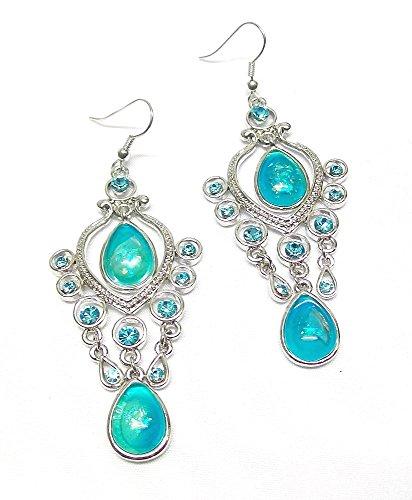 Silber Türkis Tropfen Ohrringe für Mädchen Kristall Strass-Steinen Kostüm Schmuck für Frauen (Sehr Beliebte Kinder Kostüme)
