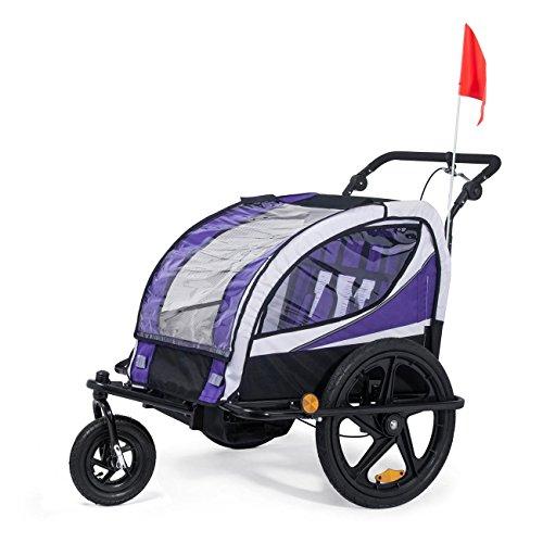 SAMAX Fahrradanhänger Jogger 2in1 360° drehbar Kinderanhänger Kinderfahrradanhänger Transportwagen vollgefederte Hinterachse für 2 Kinder in Lila – Black Frame - 2