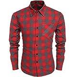 Burlady Herren Karohemd Kariert Hemd Slim Fit Trachtenhemd Super Modern super Qualität fürs Oktoberfest geeignet (M, A-Rot)