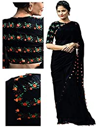 RV Creation Women's Georgette With Embroidered Blouse Saree (3184-E_Black)
