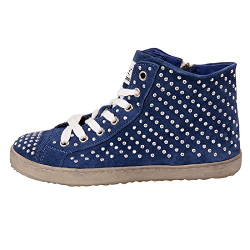 Francesco Milano donna in pelle High Top Sneaker Blu F453T blu 37