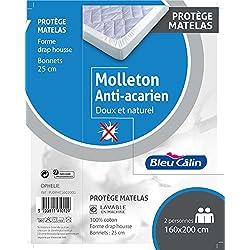 Bleu Câlin Protège Matelas Anti-Acariens Molleton 100% Coton Forme Drap Housse 160x200 cm PLOPHE