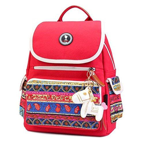 Preisvergleich Produktbild Belle Rot Multifunktionale Baby Windel Wickeltasche Mama Handtasche Rucksack für Baby Flaschen Kleider Papiertücher Regenschirm