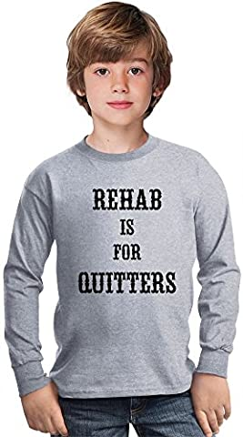 Rehab Is For Quitters Amazing Kids Long Sleeved Shirt by Benito Clothing - 100% Cotton- Ideal For Active Boys-Casual Wear - Perfect For A Present Unisex 14-15 years