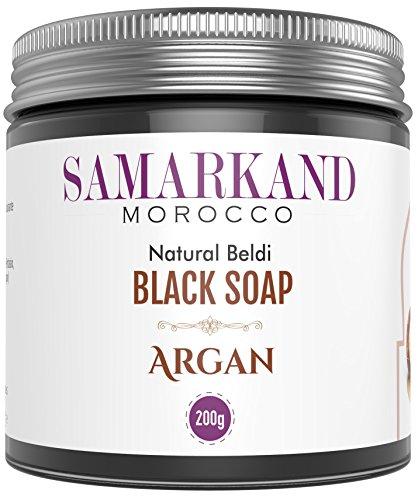 Schwarze Seife aus Marokko mit BIO Arganöl 100% Rein Natürlich Beldi für Hammam - Das Original Marokkanisch 200 g - Brust Marokkanische