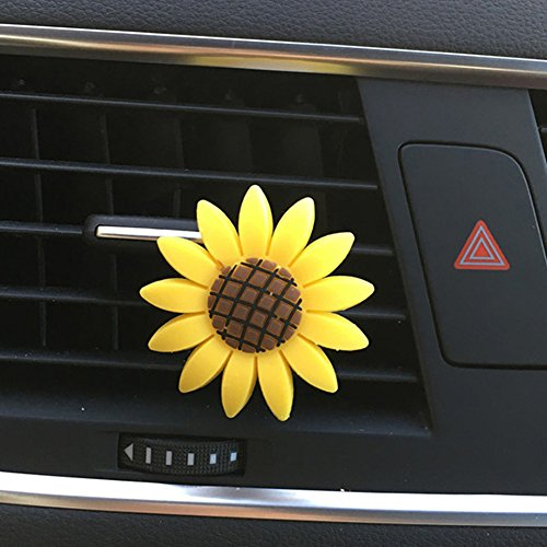 ZHOUBA Niedliche Gelb Sunflower Smile Face Refresh Air Outlet duftende Parfüm Lufterfrischer Clip, Gummi, Sunflower -