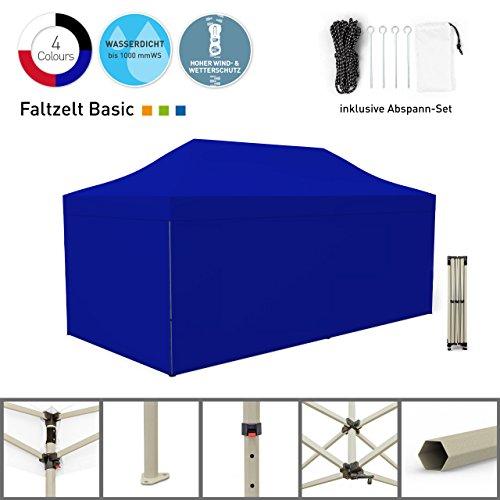 Faltpavillon Faltzelt Pavillon Klappzelt Basic 3 x 6 m, blau (4 volle Zeltwände) - weitere Farben und Größen lieferbar