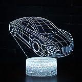 WangZJ Sportwagen 3d Led Lampe/Nachtlicht Für Kinder/Freund Geschenke Für Weihnachten-car-2 / Remote 7 Farbe (Riss weiß)