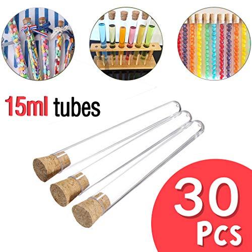 Rolin Roly 30 stücke 15 ml Transparente Kunststoff Reagenzgläser mit Korken Stopfen Runden Boden Reagenzglas für Süßigkeiten Lagerung und Dekorieren Haus