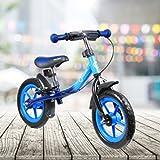 FRX Kinderfahrrad Balance Bike Blau 12 Zoll Reifen Haltbares und langlebiges Metalldesign ergonomischer Sitz Praktischer Ständer Kids Bike Kids Bycicle Lauflernrad Laufrad Lernrad Lernfahrrad Kinderrad Kinderlaufrad Balancerad (Blau)