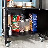 SoBuy® Servierwagen, Küchenwagen, Rollwagen mit Edelstahlarbeitsplatte,Getränkewagen fürs Büro,FKW22-SCH - 7