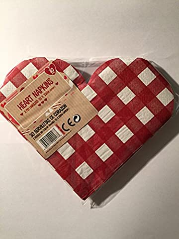 30 x RED &White Checked love heart shaped napkins Perect for Valentines day