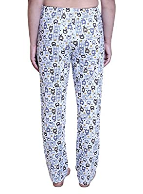 TRAZO Women's Printed Cotton Pyjamas for Women in Grey Color