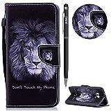 HTC U11 Hülle,HTC U11 Leder Handyhülle,WIWJ Handyhülle Wallet Case[Messerschnalle Lanyard Gemalt Ledertasche] Flip Schutzhüllen für HTC U11-Englischer Löwe