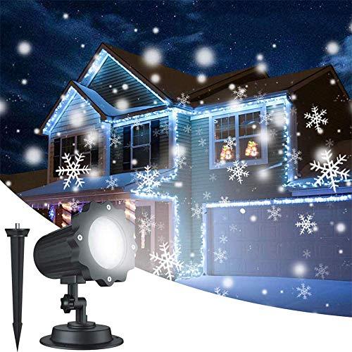 (JFJL Weihnachtsprojektor-Lichter,2-in-1-LED-Landschaftsleuchten wasserdicht,Schneeflocke Lichter bewegen Muster mit Fernbedienung Weihnachtsfeier Garten Dekorationen,Schneeflocke Beleuchtung)