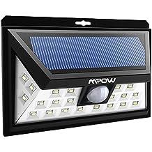Mpow Luz Solar LED de Exterior con Energía Solar, Luz de Sensor de Movimiento Inalámbrico de Seguridad a Prueba de Agua para Patio, Cubierta, Patio, Jardín, Calzada, Pared Exterior con 3 Modos Activado por Movimiento, Sensor de Gran Angular 120°Distancia Sensor 10-11m.