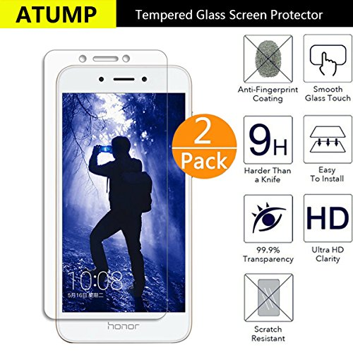 Huawei Honor 6A Screen Protector, Atump[2 Pack] Premium Tempered Glass Screen Protector for Huawei Honor 6A 9H Hardness and Easy Bubble-Free Installation Invisible Shield Film Guard Cover