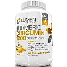 La Cúrcuma Curcumina 1200 mg Extra Strength con un 95 % de Curcuminoides - 120 poderoso anti inflamatorio natural Cápsulas de 60 días Suministro completo - Suplemento demostrado que el apoyo Alivio de dolor de las articulaciones y reducir la inflamación - sin efectos secundarios negativos