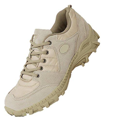 WZG stivali da uomo all'aperto stivali desert boots basso per aiutare gli uomini scarpe da trekking, scarpe da trekking volanti sci di fondo in esecuzione Scarpe in pizzo , sand color , 44