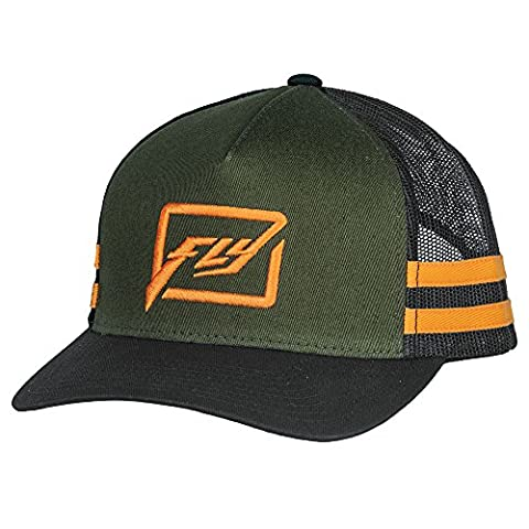 Fly Racing Flexfit Snapback Cap Kids Huck light green-orange Kinder Youth (Baseball Screen Print Cap)