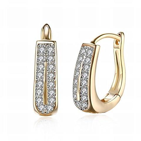Kleine und Exquisite K Gold Zirkon Ohrringe Zweireihige Diamant Romantische Ohrringe Ohrringe Weiblichen Champagner Gold / Edelstahl / Anti-allergisch / Silber Blinken / Diamanten,Als Show