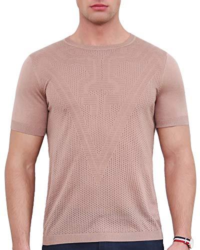 zhili New Summer Herren Rundhals T Shirt Multipack Sweater Braun XX Large