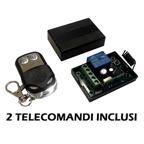 Modulo Scheda relè ricevitore 1 canale Ch 12V 10A + 2 telecomandi 433MHz controllo remoto wireless cancelli serrande luci domotica interruttore ricevente relay 12Vdc
