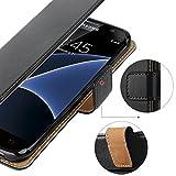 HOOMIL Galaxy S7 Edge Hülle, Handyhülle Samsung Galaxy S7 Edge Tasche Leder Flip Case Etui Brieftasche Schutzhülle für Samsung S7 Edge Cover - Schwarz (H3026) Test
