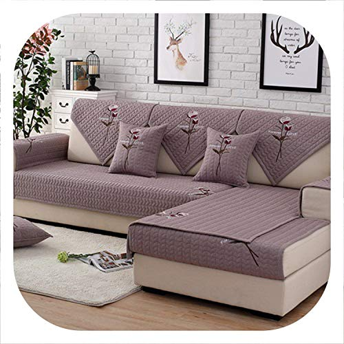 Seesaw-Min Grau, Rot, Rose Blumenstickerei Baumwolle Gesteppte Sectional Sofa-Abdeckung für Wohnzimmer, Rot Pro Pic, 70Cm70Cm 1Piece -