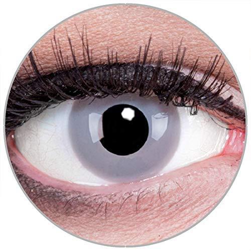 Funnylens Farbige Kontaktlinsen Zombie Grey grau weich ohne Stärke 2er Pack + gratis Behälter - 12 Monatslinsen - perfekt zu Halloween Karneval Fasching oder Fasnacht