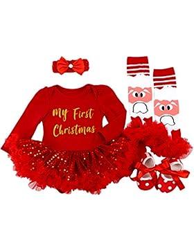 BabyPreg® Baby Mädchen mein erstes Weihnachten Sankt Kostüm-Partei-Kleid 4PCS