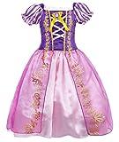 AmzBarley Principessa Rapunzel Vestito Bambina Carnivel Cosplay Costume Ragazza Maniche Corte Abito Ragazze Festa Compleanno Halloween Partito Abiti Vestirsi