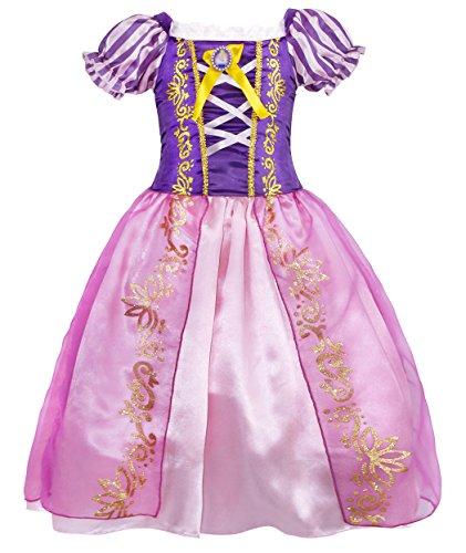 AmzBarley Prinzessin Rapunzel Kostüm Kinder Mädchen Tutu Verrücktes Kleid Kleider Halloween Cosplay Kleidung Geburtstag Party Ankleiden Karneval Zeremonie Hochzeit Abendkleid, Lila 04, 5-6 Jahre