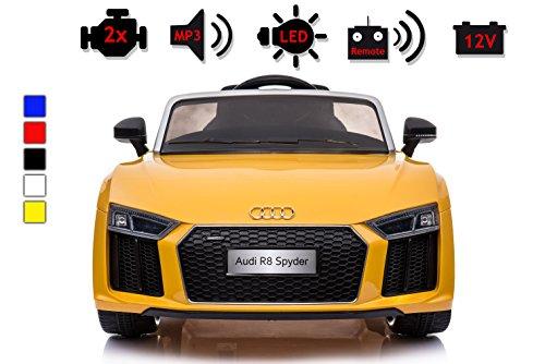 Kinderelektroauto - Audi R8 - 2 Motoren - Kinderfahrzeug Lizenz + Fernbedienung - Gelb
