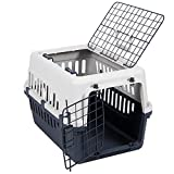 Pet Vida Transportbox mit 2 Türen, Haustier, Hund, Katze, Weiß & Grau
