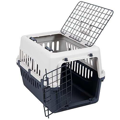 Transportbox mit 2 Türen, Haustier, Hund, Katze, Weiß & Grau von Pet Vida