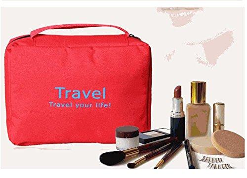 ewfsef Unisex Luxus Faltbar Tasche zum Aufhängen Make-up Tasche Wandern Tasche Turnbeutel Rot