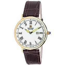 "Steinhausen Classic Men's S0118 ""Altdorf"" Swiss Quartz Reloj de pulsera de cuero marrón ultrafino en oro rosa"